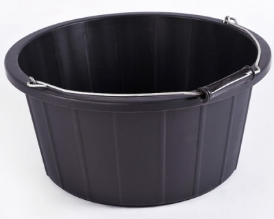 Coloured Shallow Feed Bucket - BLACK