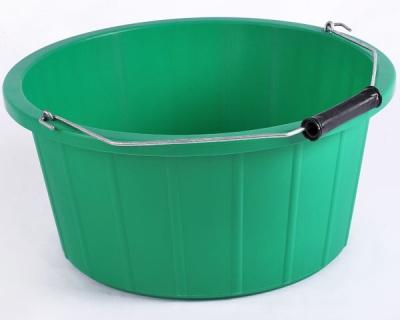 Coloured Shallow Feed Bucket - GREEN